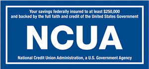 Your savings federally insured to at least $250,000 and backed by the full faith and credit of the United States Government National Credit Union Administration (NCUA), a U.S. Government Agency.